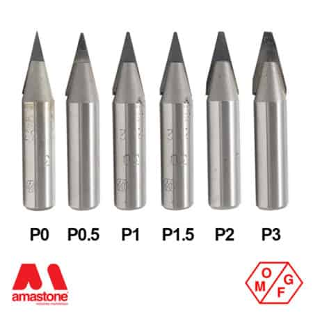 30° Flat (0-3 mm) Tip Widia V-Groove router bit for Marble