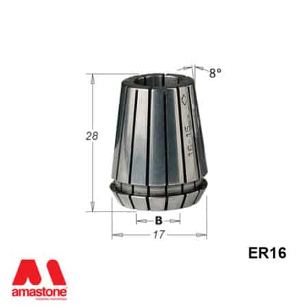 ER16 Collet - with dimension