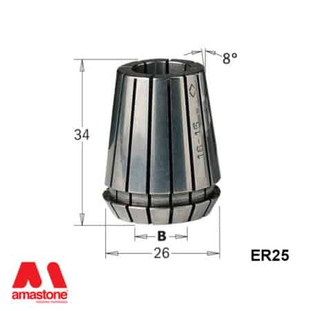 ER25 Collet - with dimension