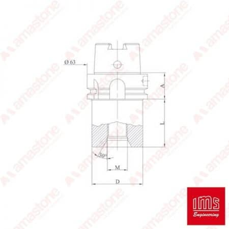 Drill point holder cone HSK 63 A – DIN69893 and Denver