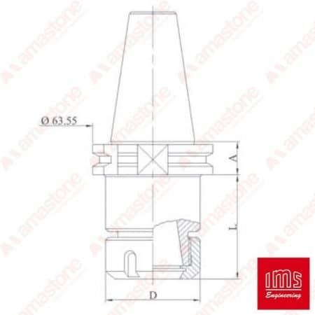 ER collet chuck holder cone ISO 40 - DIN 69871A