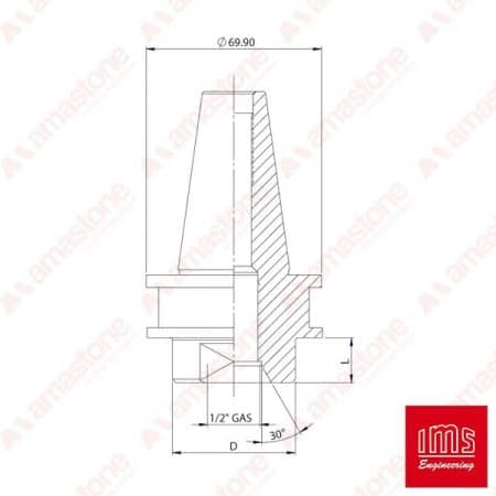 IMS - 12 Gas drill point holder cone ISO 40