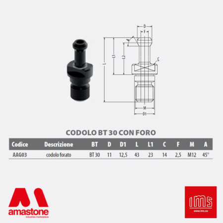 Aag03 - Pull Stud For Tool Holder Cone Iso 30