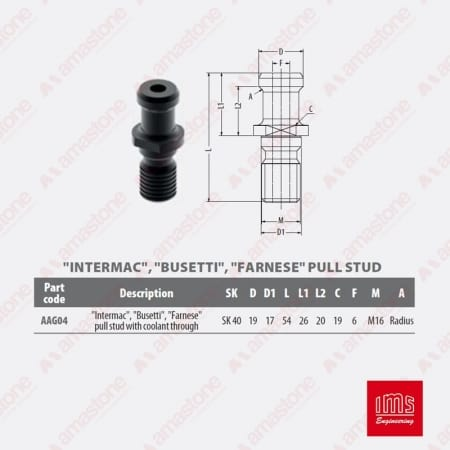 AAG04 - Pull stud for tool holder cone ISO40 - IMS