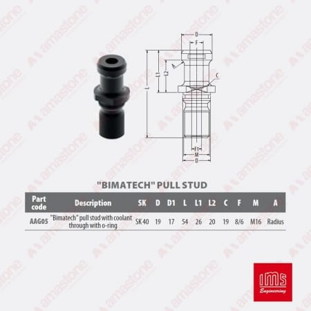 AAG05 - Pull stud for tool holder cone ISO40 - IMS