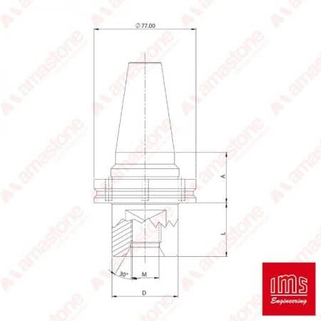 IMS – 1/2 Gas drill point holder cone ISO 40
