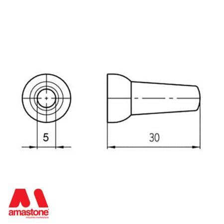 """1/4"""" Round Nozzle ID 5 mm"""