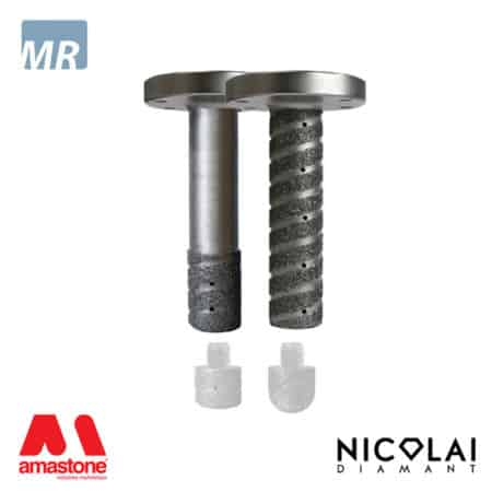 Electroplated finger bit flange connection - Threaded for replaceable tips - Marble - Nicolai