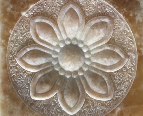 Cnc Stone Router Flower Relief Onix