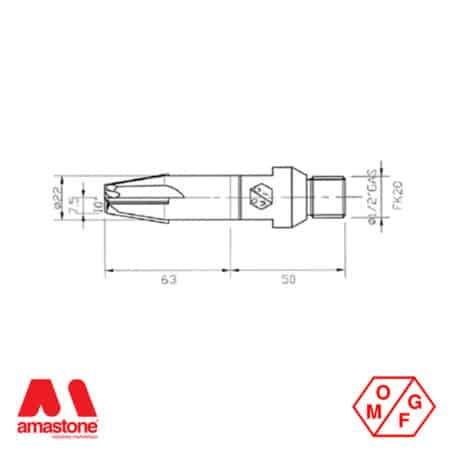 Drawing of carving router bit 20x30 mm - h110 mm for Marble - OMGF