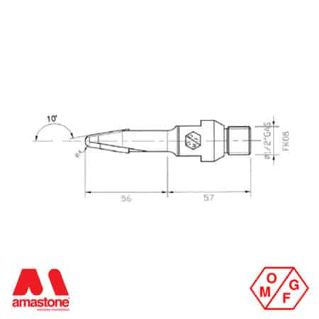Drawing of carving router bit 8x30 mm - h110 mm for Marble - OMGF