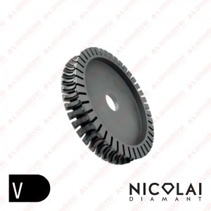 Segmented profiling wheel for bridge saw – V Profile – Bullnose concave