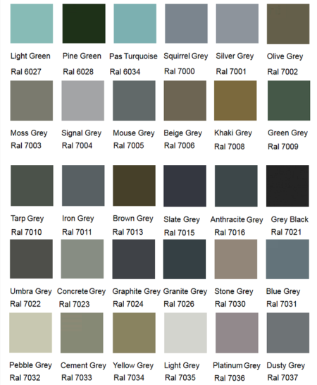 Silirub Color Ral Chart Amastone 3